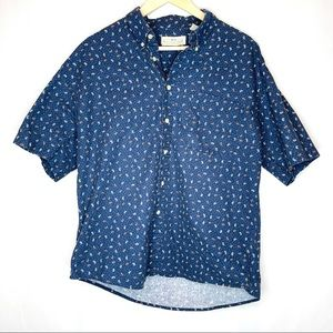 Vtg Natural Issue Short Sleeve Button Down Large